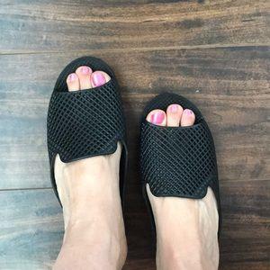 Awesome Jeffrey Campbell platform peep toe slides